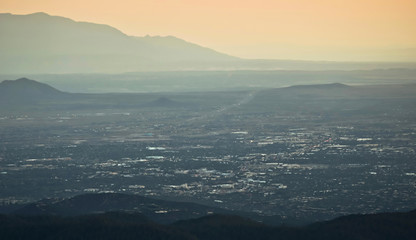 A Santa Fe at Dusk Aerial Shot