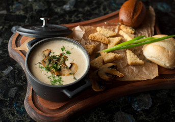 Cream soup with champignons