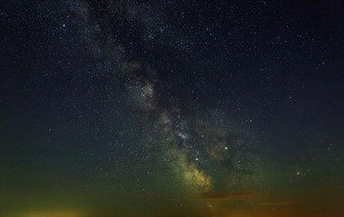 Starry night sky with the Milky Way. Astrophotography of the open space.