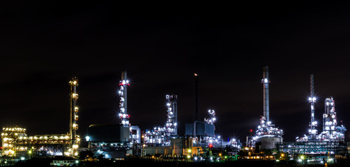 Oil refinery plant, twilight time.