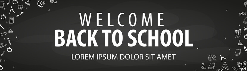 Welcome Back to School banner with different school objects.