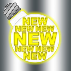 New, web banner, glowing light bulb withe modern yellow letter font forming the word NEW, isolated against the silver background.