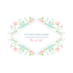 Floral frame card design. Vector illustration