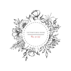 Hand drawn flower round frame. Vector floral wedding design in sketch style