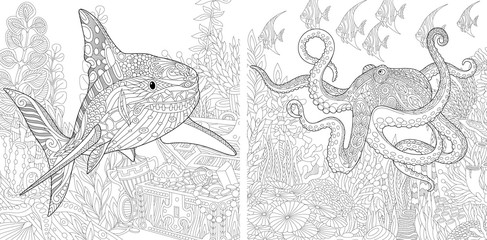 Coloring page collection of shark and octopus. Freehand sketch for adult antistress colouring book in zentangle style.