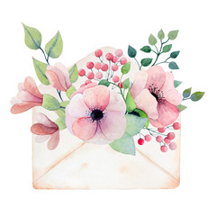 Watercolor envelope with flowers