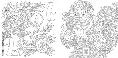 Coloring Page Collection Of Santa Claus And Christmas Decorations Freehand Sketch For Adult Antistress Colouring