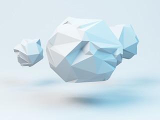 Gray polygonal spheres. Abstract geometrical modern background. 3D render illustration