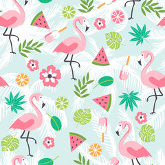 Summer seamless background with flamingo