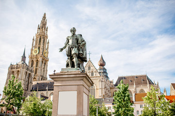 Foto op Canvas Antwerpen View on the Rubens statue and church in Antwerpen city, Belgium