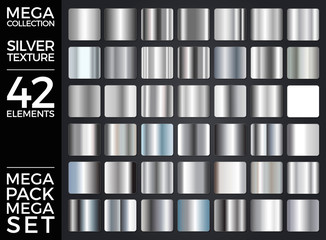 Vector Set of Silver Gradients, Silver Squares Collection, Textures Group Eps 10