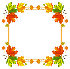 Square  frame with fallen leaves. Vector clip art.