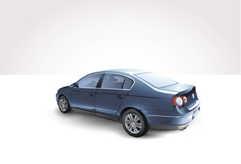 Classic Blue Generic Sedan Car. 3d illustration.