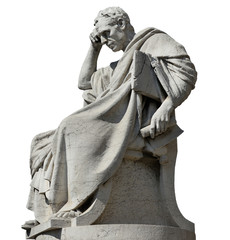 Thinking man statue of Julian the Jurist in front of Old Palace of Justice in Rome (isolated on white background)
