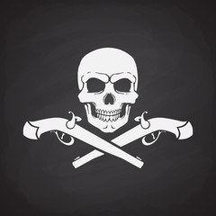 Silhouette of skull Jolly Roger with crossed pistols at the bottom on blackboard background. Vector illustration. Danger and warning sign. Symbol on the flag of pirates
