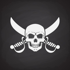 Silhouette of skull Jolly Roger with crossed sabers at the behind on blackboard background. Vector illustration. Danger and warning sign. Symbol on the flag of pirates