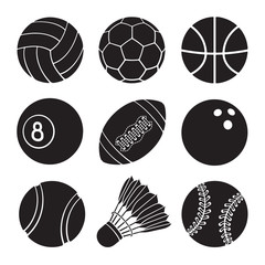 Vector illustration. Silhouettes of football, soccer, basketball, volleyball, baseball, tennis, badminton, bowling and billiards balls. Set of sports balls icons. Templates of sports equipment