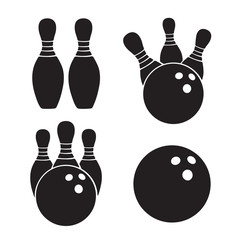 Vector illustration. Set of icons silhouettes of bowling balls and bawling pins. Templates of sports equipment. Design elements