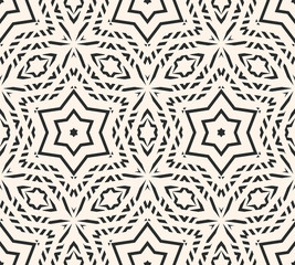 Delicate vector seamless pattern, ornament texture with linear geometric shapes, stars. Abstract monochrome ornamental background, repeat tiles. Design for prints, decor, furniture, fabric, carpet