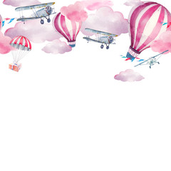 Watercolor festive sky seamless border. Hand painted pattern design: vintage airplane, flags garlands, clouds, hot air balloon, party air balloons, gift box on parachute on white background.