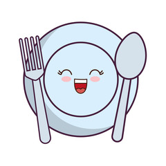 kawaii dish with fork and spoon icon over white background vector illustration