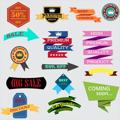 Set of retro vintage badges and labels. Design elements.