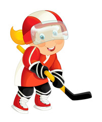cartoon active hockey player aiming - isolated illustration