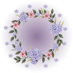 Vector flowers set. Beautiful wreath.