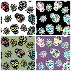 Seamless pattern set with floral sugar skulls and flowers for textile, paper and other designs
