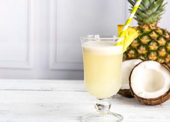 Glass of pina colada