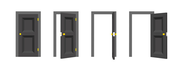 Doors set. Front view opened and closed the door. Isolated vector illustration.