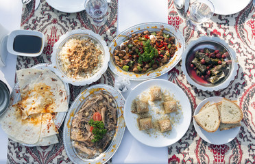 Special Ottoman Recipes are Served with Traditional Table Cloth