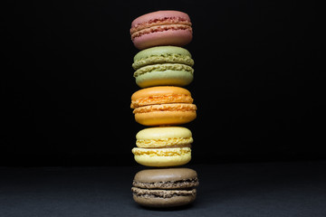French Macarons, Vertical Stack on Black