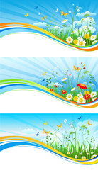 Sky and flowers banners