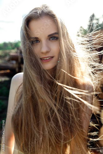 Nude Girl With Long Hair Portrait