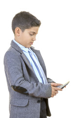 Little Businessman is Calculating New Budget Against Isolated White Background