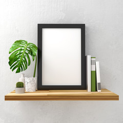Clean and minimal mock up photo frame with books and green leaf decoration on a white shelf. 3D illustration render.