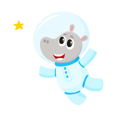 Cute little hippo animal astronaut, spaceman character wearing space suit, cartoon vector illustration isolated on white background. Baby hippo astronaut, spaceman in spacesuit flying in open space