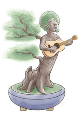 Bonsai Tree Man Playing Acoustic Guitar
