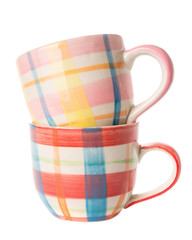 Multicolor coffee cup isolated on white background.