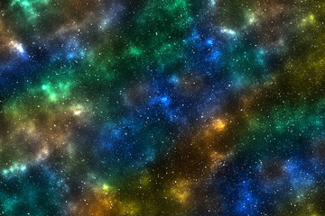 Green blue golden space background