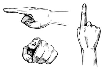 Pointing hands set