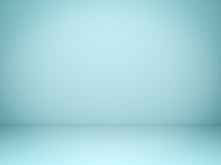 Empty light green pastel background with shadows . 3D rendering.