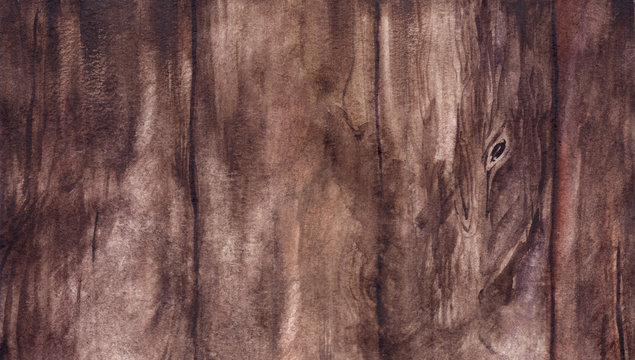Watercolor brown wood board surface realistic texture background