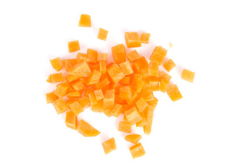 Carrot chopped into cubes ready to be used.