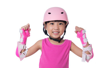 Asian little Chinese girl wearing protection kit