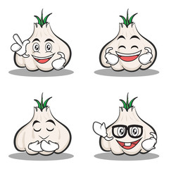 Set of garlic cartoon character collection