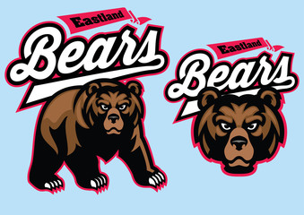 grizzly bear mascot set