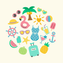 Set of Cute Colorful Summer Fun Holiday Doodle
