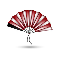 Chinese fan. Vector. Red.